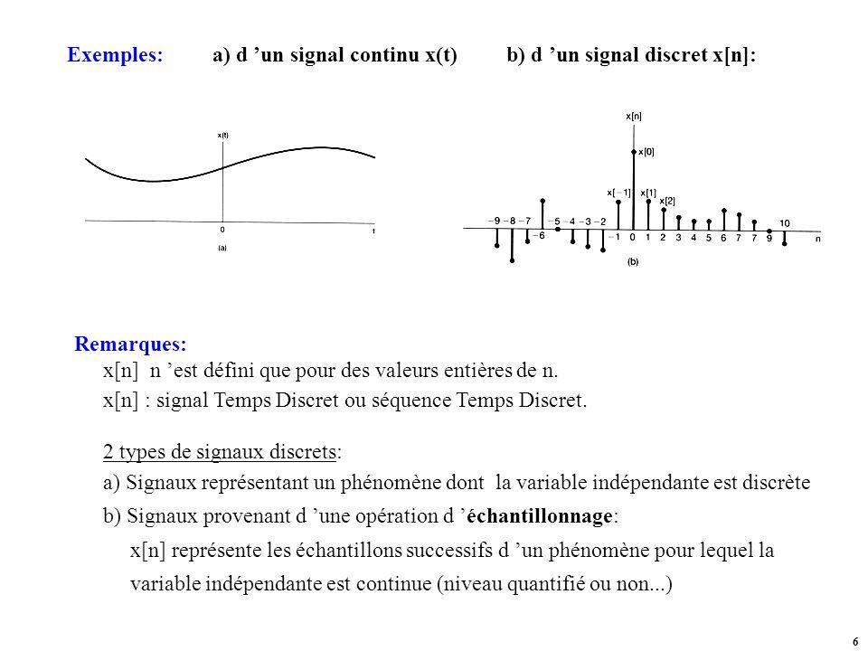 Exemples: a) d 'un signal continu x(t) b) d 'un signal discret x[n]: